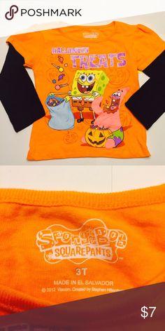SpongeBob Halloween treats T-shirt 3T Great condition long sleeve T-shirt orange and black Halloween treats SpongeBob Shirts & Tops Tees - Long Sleeve