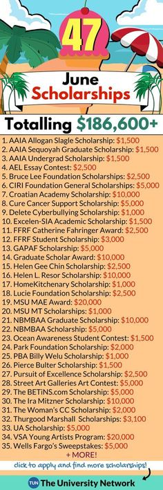 Here is a selected list of June 2018 Scholarships. Here is a selected list of June 2018 Scholarships. Grants For College, Financial Aid For College, College Planning, College Tips, Financial Planning, College Club, College Checklist, College Dorms, Graduate Scholarships