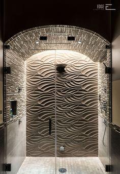 LED lighting Idea for shower interiors Bathrooms & Vanity Cirrus Wall Grazer - by Edge Lighting Bathroom Design Luxury, Modern Bathroom Decor, Rustic Bathrooms, Dream Bathrooms, Beautiful Bathrooms, Bathroom Ideas, Shower Ideas, Modern Luxury Bathroom, Luxury Shower