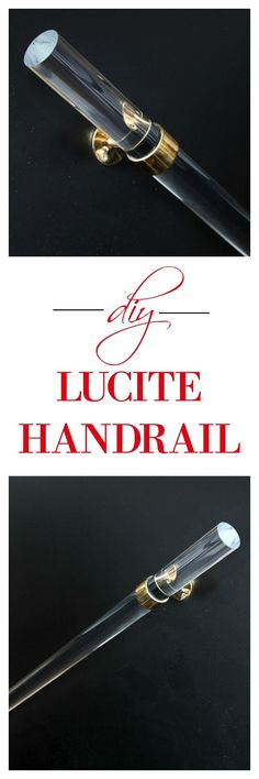 Love the look of lucite? Make and install your own DIY Lucite Handrail! It's so easy to DIY your own and much cheaper than buying one already made! Affordable Home Decor, Cheap Home Decor, Diy Stair Railing, Handrail Ideas, Staircase Ideas, Stair Risers, Railings, Light Fixture Makeover, Diy Wood Wall
