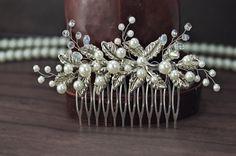 wedding hair comb, bridal hair piece от TopGracia на Etsy