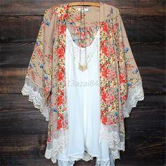 Women Vintage Floral Loose Shawl Kimono Cardigan Boho Chiffon