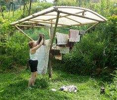 Solar clothes dryer kit by Simply Loving Living Life, via Flickr. Might work better than just clothes line in the winter.
