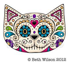 """""""Sugar Skull Cat"""" by Beth Wilson Sugar Scull, Sugar Skull Cat, Cat Skull, Skull Art, Mexican Skulls, Mexican Folk Art, Image Chat, Day Of The Dead Skull, Candy Skulls"""