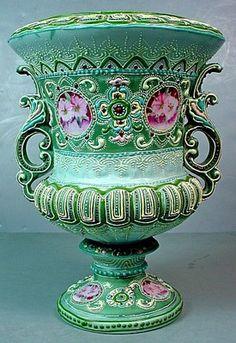 Antique Japanese Nippon Moriage Porcelain Double Handle Pedestal Urn | eBay