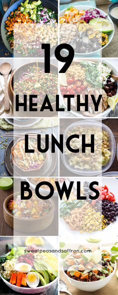 19 Healthy Lunch Bowls! These are all make-ahead lunch recipes that are perfect for a work lunch. #weightlossmotivation