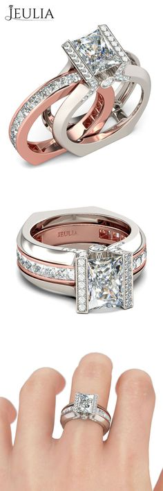 1.5CT Cathedral Style 2-tone Two-in-one Baguette Cut Women's Bridal Ring Set #jeulia