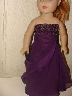 Plum Evening gown for American Girl by NormasSpecialDays on Etsy, $20.00