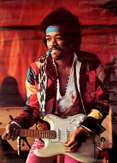 Jimi Hendrix performing at the Love + Peace Festival on the Isle of Fehmarn, Germany, September 6, 1970.