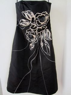 White House Black Market Dress 6 Strapless Embroidered Beaded Lined #WhiteHouseBlackMarket