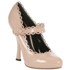 Dolce & Gabbana Nude patent leather concealed platform mary jane pumps