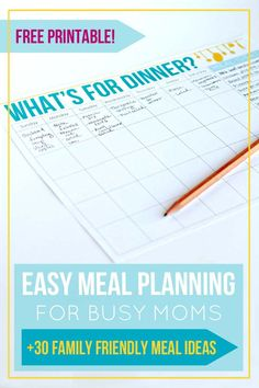 Free Printable Meal Planner For The Busy Mom  Homeschool And Parents
