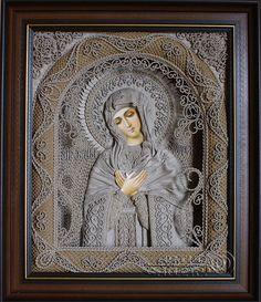 macrame, macrame art, icons art, religious icons, russian religious icons, icons art. Applied art. The icon of the Mother of God of Tenderness. Denshchikov Vladimir