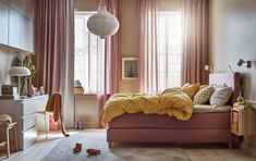 Get a good night's sleep in a bed that's comfortable to lie in and beautiful to look at – this pink bedroom is filled with cosy textiles and stylish storage in a relaxing atmosphere. See all of our new bedroom solutions and find your favourite at IKEA. Ikea Inspiration, Colorful Interior Design, Colorful Interiors, Ikea Home, Ikea Bedroom, Stay In Bed, Bed Frame, Home Furnishings, New Homes