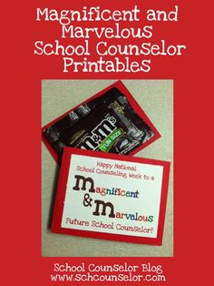 M&Ms (Magnificent and Marvelous) School Counselor Printable Middle School Counselor, Elementary School Counseling, School Social Work, Counselor Office, National School Counseling Week, Future School, Blog, School Counsellor, Education