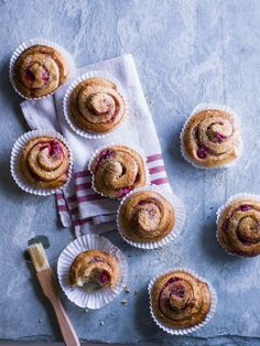Cardamom and raspberry Swedish buns: Delicious filled buns inspired by classic Scandinavian baking. Made with a brioche-style dough and filled with raspberries, the family will love them.