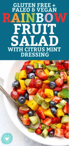 Rainbow Fruit Salad with Citrus Mint Dressing - Fresh fruit + bright citrus dressing = the PRETTIEST fruit salad you've ever seen. Best Fruit Salad, Dressing For Fruit Salad, Summer Salads With Fruit, Fruit Salad Recipes, Raw Food Recipes, Brunch Recipes, Cooking Recipes, Healthy Recipes, Dressing Recipe