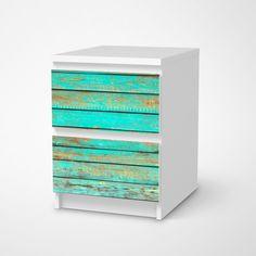 """Möbelfolie """"Wooden Aqua"""" für deine Malm Kommode #ikea #hack #moebelfolie #klebefolie #malm #kommode"""