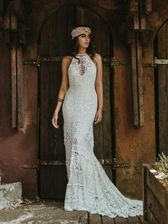 Illusion Sweetheart Bohemian Wedding Dress with Halter Top and Illusion V-Neck, Trumpet Skirt, and Crotcheted Netting | Lover's Society Spring 2018