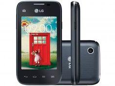 "Smartphone LG L35 Dual Chip 3G Android 4.4 - Câm. 3MP Tela 3.2"" Proc. Dual Core TV Digital"