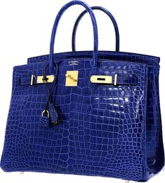 Hermes Special Order Horseshoe 35cm Shiny Blue Electric & Alezan Porosus Crocodile Birkin Bag with Gold Hardware