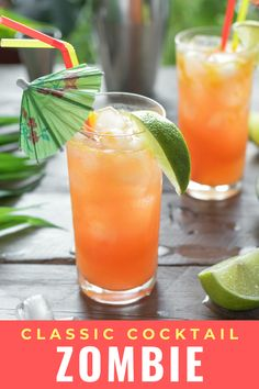 This Zombie cocktail from Bacardi rum is a great Halloween tradition. A fruit tiki drink with just the right amount of rum. It is easy to make and is perfect as a punch for parties. #zombiecocktail #halloweenparty #halloweendrink #tiki #recipe #rum #drink #cocktails