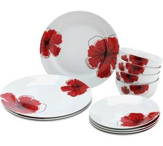 Buy HOME 12 Piece Porcelain Poppies Dinner Set at Argos.co.uk, visit Argos.co.uk to shop online for Crockery, Tableware, Cooking, dining and kitchen equipment, Home and garden