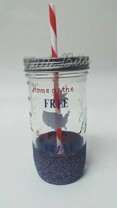 Glitter Dipped // Mason Jar Glass Tumbler //  Land of the Free Because of the Brave // Sparkler // 24 oz