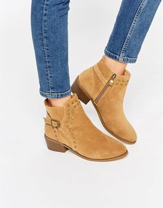 Daisy Street Tan Buckle and Stud Western Ankle Boots