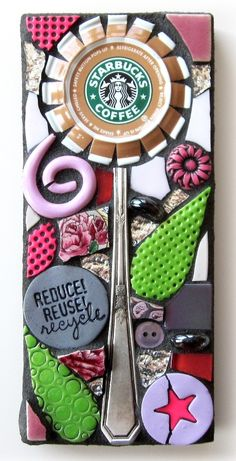 "Upcycled STARBUCKS COFFEE CAP ""Flower"" Mixed Media Mosaic Wall Art. REDUCE. REUSE. RECYCLE."