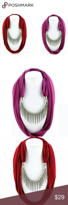 Punk Style Rivet Pendant Necklace Scarf New arrival Punk Style Rivet Pendant Necklace Scarf  Item Type: Scarves Pattern Type:	Solid Scarves Type	Scarf Gender: Women Scarves Length	>175cm Material	polyester+ jewellery pendant size:	40*180cm Accessories Scarves & Wraps