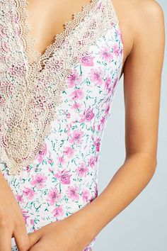 Slide View: 2: Lace-Front One-Piece Swimsuit