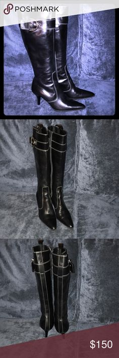 """Coach Justine Italian Leather High Heel Boots Coach Justine Italian Leather High Heel Boots - Absolutely stunning leather boots by Coach. With a 2.5"""" heel they go perfect with EVERYTHING! The amazing craftsmanship shines through in all the little details, especially the outside white stitching & silver buckles. These would be the crowning piece to any wardrobe. Get them at a STEAL!!!! Coach Shoes Heeled Boots"""