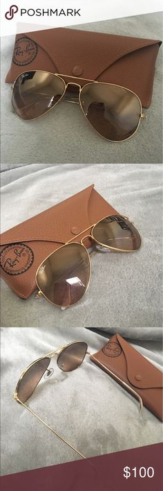 Ray ban aviator large metal sunglasses Gold frame with light brown lenses Ray-Ban Accessories Sunglasses