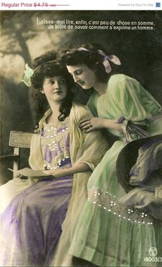 Original French vintage hand tinted real photo postcard - Ladies reading a letter - Victorian Paper Ephemera.