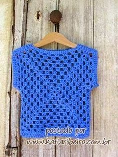 Blusas de crochê com quadradinhos / granny square - com gráfico - Katia Ribeiro Crochê Moda e Decoração Handmade