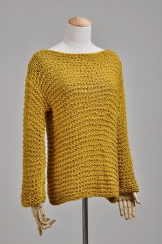 Simple is the best - Hand knit Woman Sweater Eco Cotton Oversized Mustard Yellow