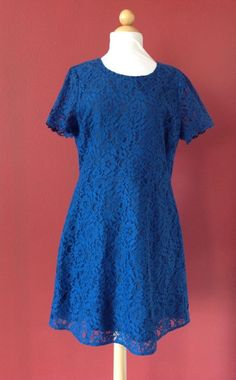 NWT! J CREW Factory Blue Vintage Sea Short Sleeve Lace Dress Size 12 New $128…