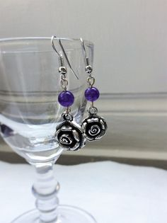 Items similar to Silver Plated Flower Dangle Earrings - Amethyst Crystal Beads Drop Earrings - Crystal Healing: Contentment on Etsy Amethyst Crystal, Crystal Healing, Crystal Beads, Crystals, Flower Earrings, Dangle Earrings, Silver Plate, Dangles, Bracelets
