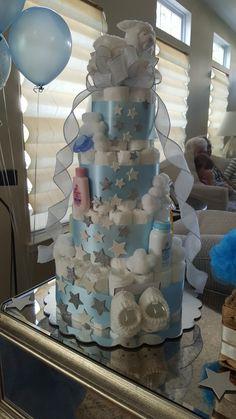 Twinkle twinkle little star diaper cake. Baby lamb diaper cake. Clouds and stars diaper cake. Baby shower cake.
