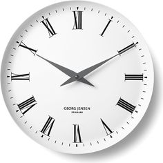 Georg Jensen Henning Koppel melamine wall clock (£215) ❤ liked on Polyvore featuring home, home decor, clocks, decor, georg jensen, georg jensen clock, roman numeral wall clock and roman numeral clock
