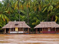 bungalows on the Mekong River, Laos