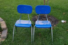 School Chairs  2 Sturdy 1980's Vintage by RJsThisandThat on Etsy