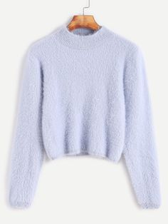 Shop Pale Blue Crew Neck Crop Fuzzy Sweater online. SheIn offers Pale Blue Crew Neck Crop Fuzzy Sweater & more to fit your fashionable needs.