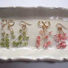 チェリークォーツの桜色ブーケイヤリング