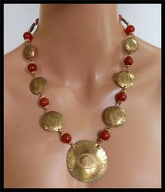 HANDORGED EVIL EYE Bronze and Carnelian Wirewrapped 1 of a Kind Statement Necklace