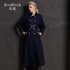 Euro Brand new autumn winter 2014 Women Long wool outerwear duffle wool coat lapel slim woolen overcoat fur collar XS-XXXL D2406