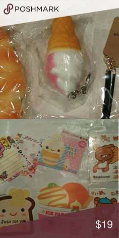 Kawaii keychain squish n cell strap squish BONUS Get icecream cone and toast squishy cellphone strap on toast n keychain on cone strawberry cone brand new factory sealed   Free stationary bonus 8pcs pen erasers gift  More pixs coming soon free gifts are kawaii n will be similar to photo of gifts will vary but u will get what's in description this is a bonus gift if I'm out of in stock u get a gift still Accessories