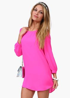 Never Look Back Dress in Neon pink | Necessary Clothing