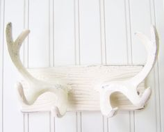 Wall Hook / Cast Iron Antlers Refinished in Shabby by TheDoorStop, $28.00